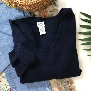 Eileen Fisher • Wool Navy Blue V-Neck Sweater